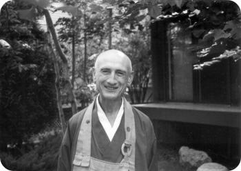 Black and white photo of Roshi Philip Kapleau.